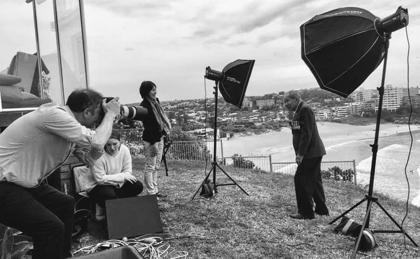 Nicholas Fiennes taking Gilbert Jan OAM's portrait for Anzac Day 2020