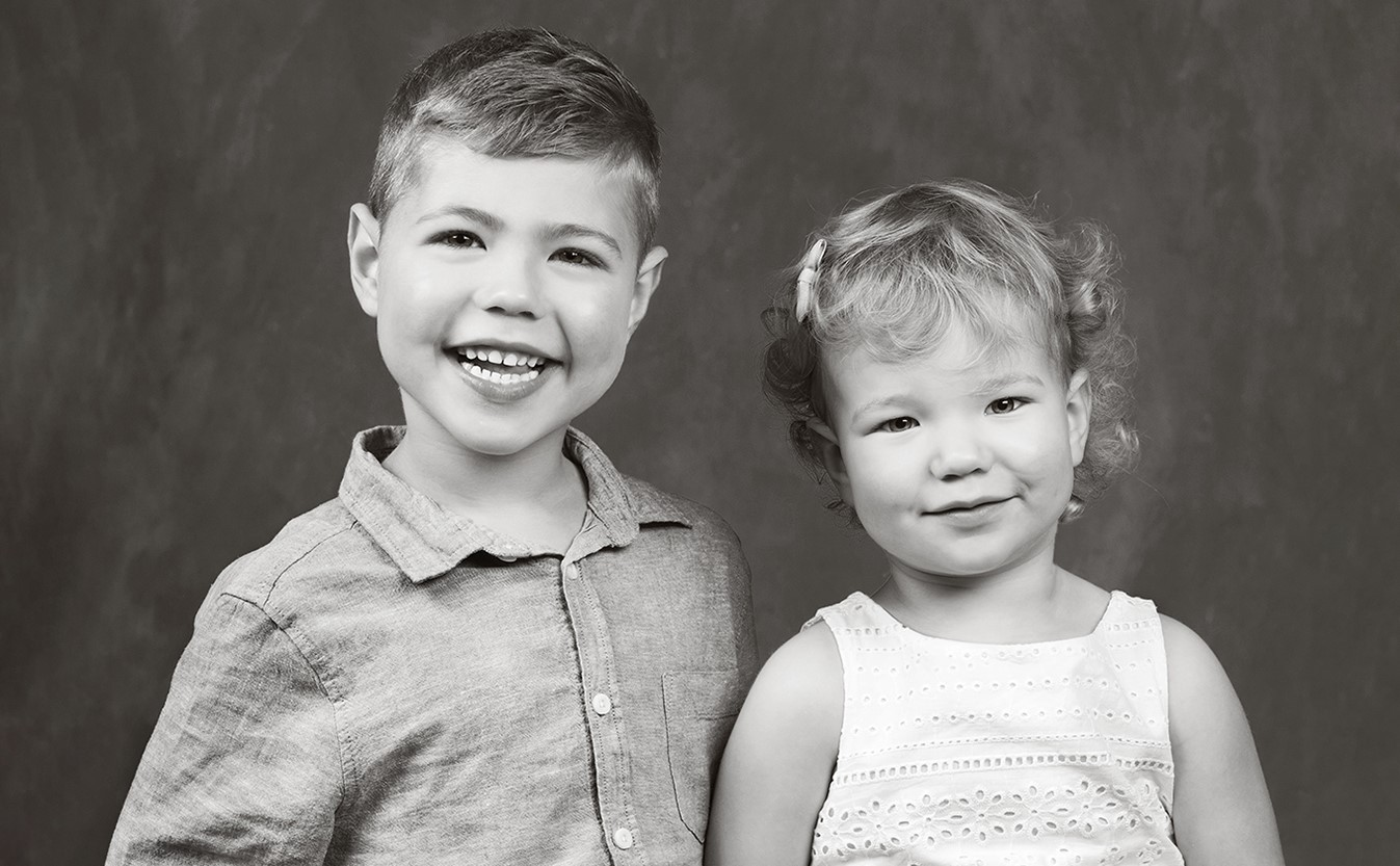 Black and white portrait of Jacob and Riley Moore