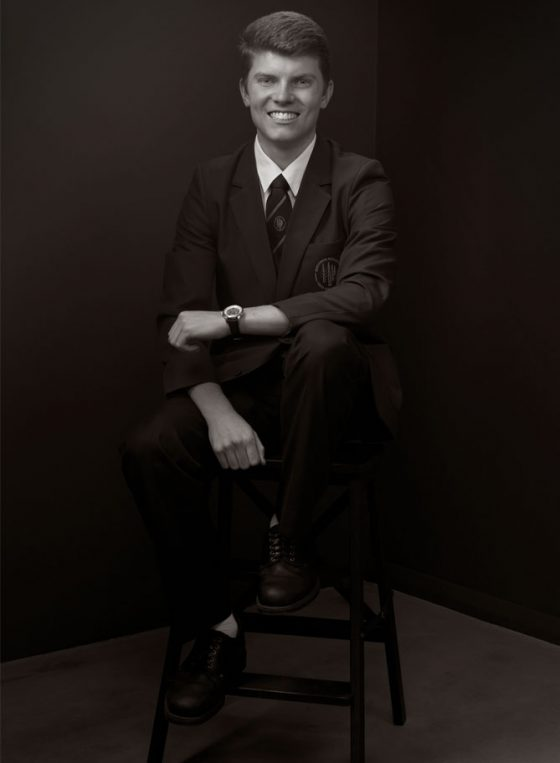 Black and white portrait of Young Leader 2020 Andrew Phelps