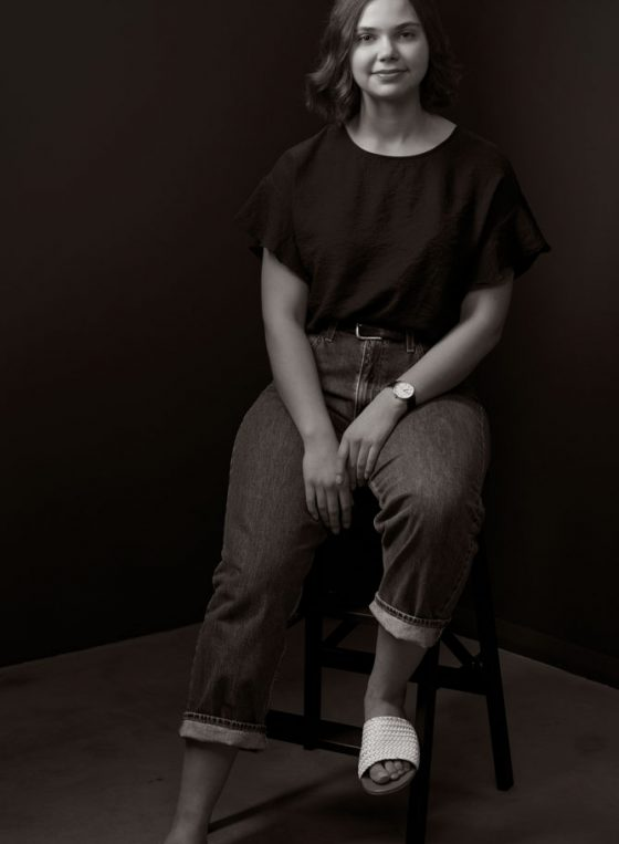 Black and white portrait of Young Leader 2020 Eloise Aiken