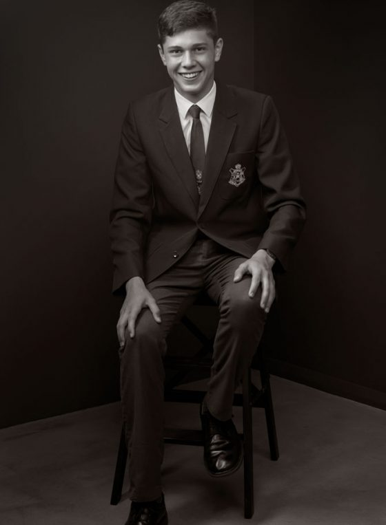 Black and white portrait of Young Leader 2020 Samuel Collins